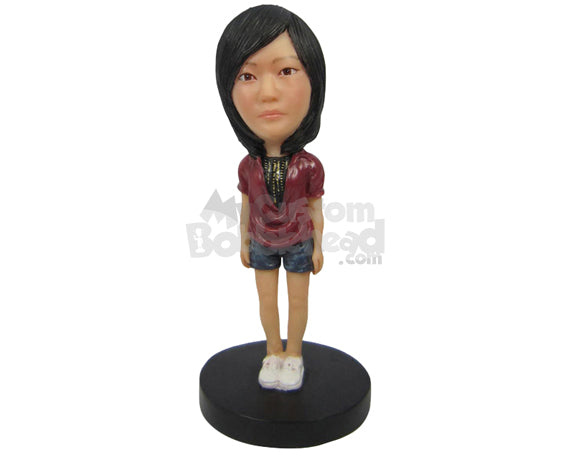 Custom Bobblehead Gorgeous Girl Wearing A Top, Short Pant With Sneakers - Leisure & Casual Casual Females Personalized Bobblehead & Cake Topper