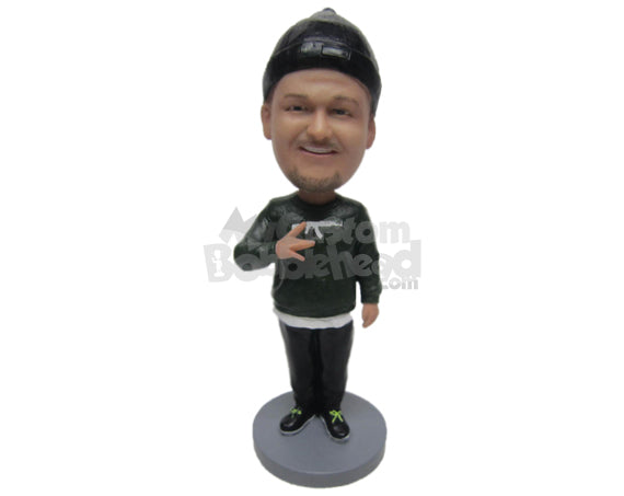 Custom Bobblehead Guy Wearing A T-Shirt And Trouser With Sneakers - Leisure & Casual Casual Males Personalized Bobblehead & Cake Topper