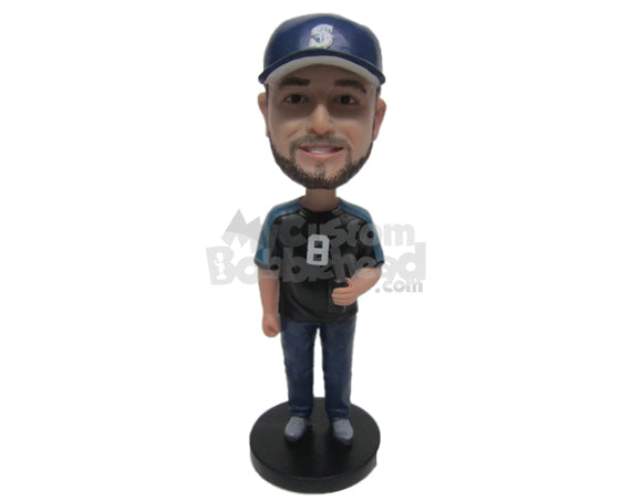 Custom Bobblehead Boy Wearing A Sports T-Shirt And Jeans With Sneakers - Leisure & Casual Casual Males Personalized Bobblehead & Cake Topper