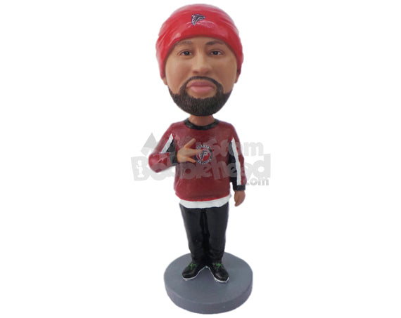 Custom Bobblehead Dude Giving A Pose Wearing A Long-Sleeved T-Shirt And Trousers With Sneakers - Leisure & Casual Casual Males Personalized Bobblehead & Cake Topper