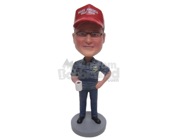 Custom Bobblehead Casual Man Wearing A T-Shirt And Jeans With Boots - Leisure & Casual Casual Males Personalized Bobblehead & Cake Topper