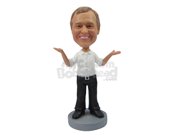 Custom Bobblehead Good Looking Man In Formal Dress Presenting Himself To The World - Leisure & Casual Casual Males Personalized Bobblehead & Cake Topper