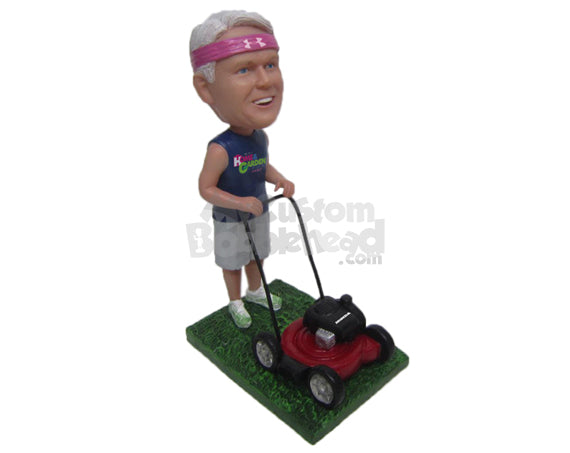 Custom Bobblehead Cool Dude Enjoying The Nature Wearing A Sleeveless T-Shirt And Short Pant With Sneaker On - Leisure & Casual Casual Males Personalized Bobblehead & Cake Topper