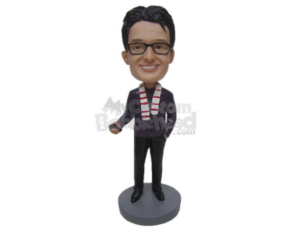 Custom Bobblehead Dude Wearing A Long-Sleeved T-Shirt And Pant With Cool Shoes - Leisure & Casual Casual Males Personalized Bobblehead & Cake Topper
