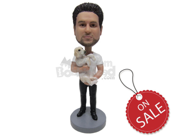 Custom Bobblehead A Caring Guy Wearing A T-Shirt And Jeans With Boots - Leisure & Casual Casual Males Personalized Bobblehead & Cake Topper
