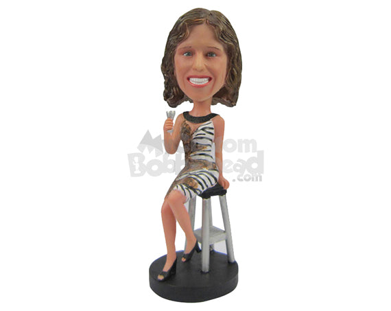 Custom Bobblehead Charming Lady In One Piece Party Dress With A Glass Of Drink In Hand - Leisure & Casual Casual Females Personalized Bobblehead & Cake Topper
