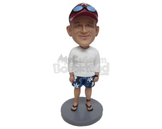 Custom Bobblehead Dude Wearing A Long-Sleeved T-Shirt, Boxers And Slippers On - Leisure & Casual Casual Males Personalized Bobblehead & Cake Topper