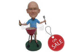Custom Bobblehead Bbq Fanatic Dude Wearing A T-Shirt And Shorts And Sandals - Leisure & Casual Casual Males Personalized Bobblehead & Cake Topper