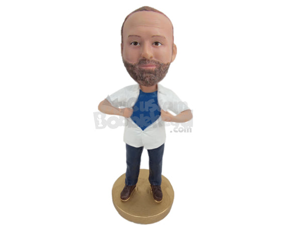 Custom Bobblehead Strong Man Trying To Tear Off His Shirt To Show Off His Super Hero Costume - Leisure & Casual Casual Males Personalized Bobblehead & Cake Topper