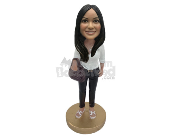Custom Bobblehead Gorgeous Office Girl Wearing A Shirt And Jeans With A Super Slipper - Leisure & Casual Casual Females Personalized Bobblehead & Cake Topper