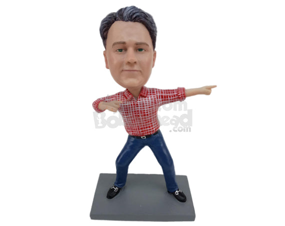 Custom Bobblehead Dude Showing Of His Moves Wearing A Shirt And Jeans With Sneakers - Leisure & Casual Casual Males Personalized Bobblehead & Cake Topper