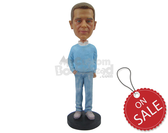 Custom Bobblehead Fashionable Male In Semi-Casual Attire With One Hand In Pocket - Leisure & Casual Casual Males Personalized Bobblehead & Cake Topper