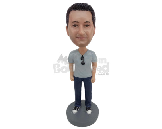 Custom Bobblehead Guy Wearing A T-Shirt And Jeans With Super Cool Sneakers - Leisure & Casual Casual Males Personalized Bobblehead & Cake Topper