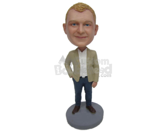 Custom Bobblehead Country Boy Looks Ready To Seal The Deal Wearing A Suit And Jeans With Boots. - Leisure & Casual Casual Males Personalized Bobblehead & Cake Topper