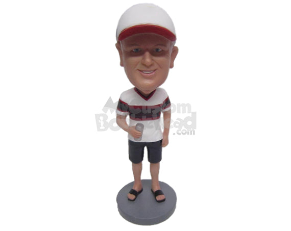 Custom Bobblehead Cool Sports Fan Dude In Shorts And Trendy Jersey - Leisure & Casual Casual Males Personalized Bobblehead & Cake Topper