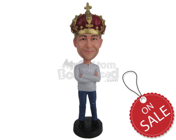 Custom Bobblehead Fella Posing In A T-Shirt And Jeans - Leisure & Casual Casual Males Personalized Bobblehead & Cake Topper