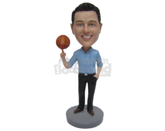 Custom Bobblehead Fashionable Boy Showing Off His Skills And Wearing A Shirt And Trendy Pants With Formal Shoes - Leisure & Casual Casual Males Personalized Bobblehead & Cake Topper
