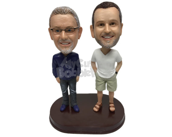 Custom Bobblehead Two Casual Guys Having A Quick Chat - Leisure & Casual Casual Males Personalized Bobblehead & Cake Topper