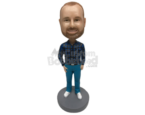 Custom Bobblehead Trendy Man Wearing A Long-Sleeved Shirt With Formal Pants And Shoes - Leisure & Casual Casual Males Personalized Bobblehead & Cake Topper