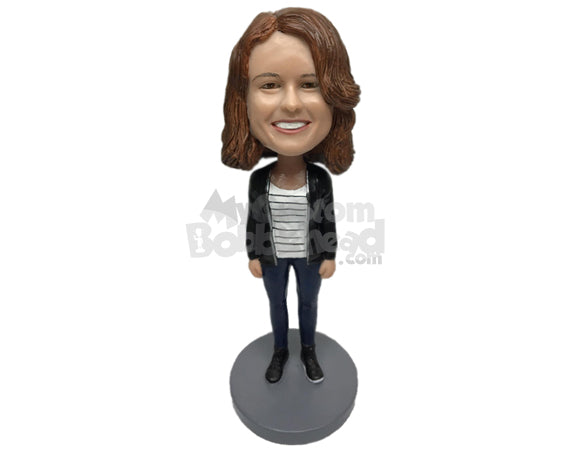 Custom Bobblehead Gorgeous Girl Wearing A Jacket, Jeans With Sneakers - Leisure & Casual Casual Females Personalized Bobblehead & Cake Topper