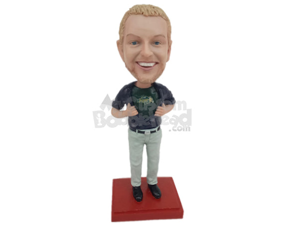 Custom Bobblehead Gentleman Taking Off His Shirt To Show His Favorite T-Shirt - Leisure & Casual Casual Males Personalized Bobblehead & Cake Topper