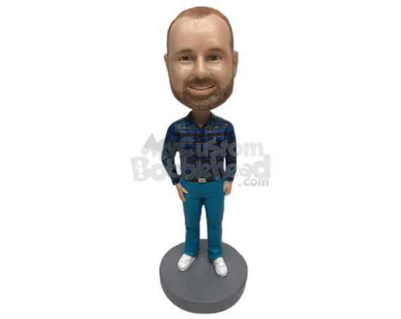 Custom Bobblehead Handsome Pal Wearing A Long-Sleeved Shirt With Formal Pants And Shoes - Leisure & Casual Casual Males Personalized Bobblehead & Cake Topper