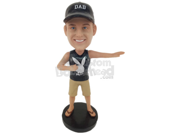 Custom Bobblehead Cool Boy Wearing A Vest And Shorts With Sandals - Leisure & Casual Casual Males Personalized Bobblehead & Cake Topper