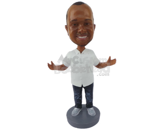 Custom Bobblehead Fashionable Man Wearing A Shirt And Jeans With Sneakers - Leisure & Casual Casual Males Personalized Bobblehead & Cake Topper
