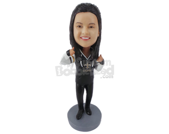 Custom Bobblehead Lady Wearing A Sweatshirt With Casual Pants And Footwear - Leisure & Casual Casual Females Personalized Bobblehead & Cake Topper