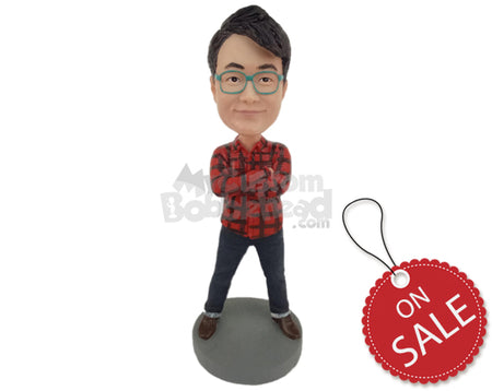 Custom Bobblehead Fashionable Boy Wearing A Shirt And Jeans With Shoes - Leisure & Casual Casual Males Personalized Bobblehead & Cake Topper