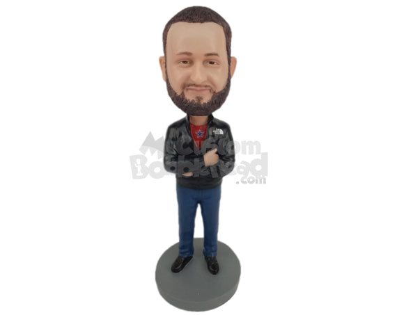 Custom Bobblehead Trendy Dude Ready With His Pose Wearing A Jacket And Jeans With Boots - Leisure & Casual Casual Males Personalized Bobblehead & Cake Topper
