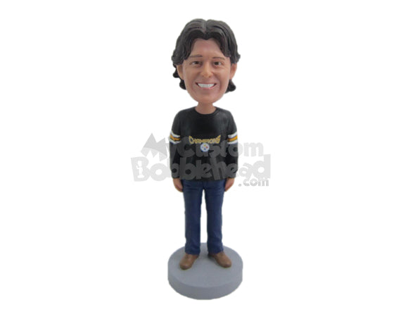 Custom Bobblehead Casual Sports Fan Wearing Long-Sleeved Jersey - Leisure & Casual Casual Males Personalized Bobblehead & Cake Topper