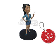 Custom Bobblehead Sexy And Charming Girl Police Attire Holding Police Baton In One Hand - Leisure & Casual Casual Females Personalized Bobblehead & Cake Topper
