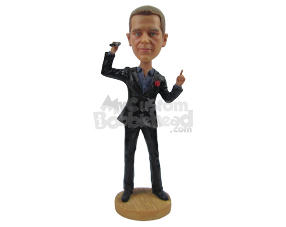 Custom Bobblehead Male With Formal Suit Rocking With A Mic In Hand And Rose In Upper Pocket - Leisure & Casual Casual Males Personalized Bobblehead & Cake Topper
