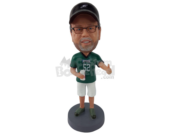 Custom Bobblehead Baseball Fan Giving Thumbs Up While Holding A Glass - Leisure & Casual Casual Males Personalized Bobblehead & Cake Topper