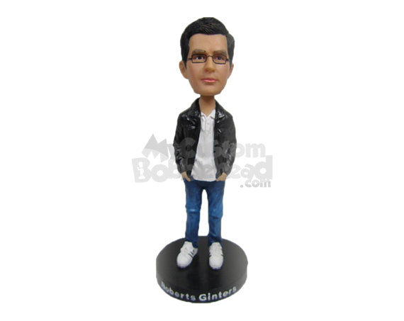 Custom Bobblehead Handsome Stylish Dude In Leather Jacket And Spectacles With Hands In Pocket - Leisure & Casual Casual Males Personalized Bobblehead & Cake Topper