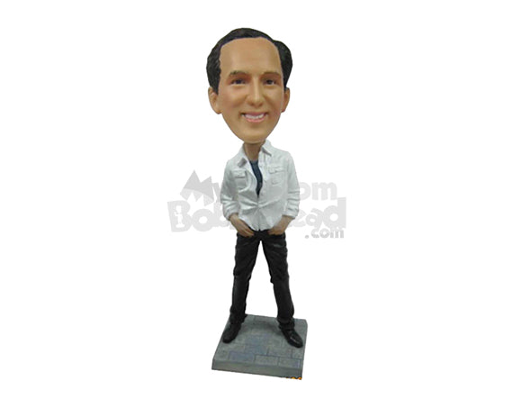 Custom Bobblehead Happy Smart Guy In Stylish Pose With Hands In Pocket - Leisure & Casual Casual Males Personalized Bobblehead & Cake Topper