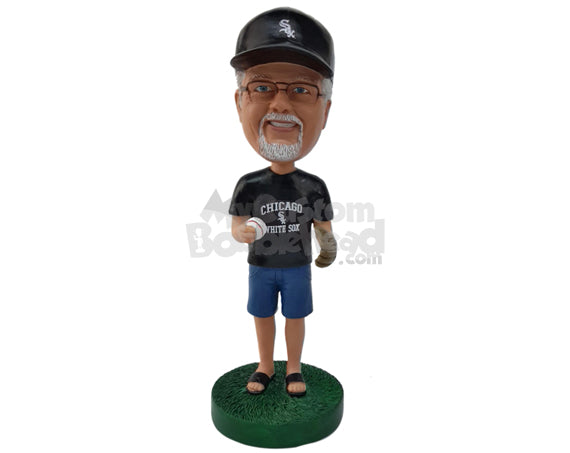 Custom Bobblehead Baseball Fan Holding Baseball In His Hand And Wearing His Favorite Jersey - Leisure & Casual Casual Males Personalized Bobblehead & Cake Topper