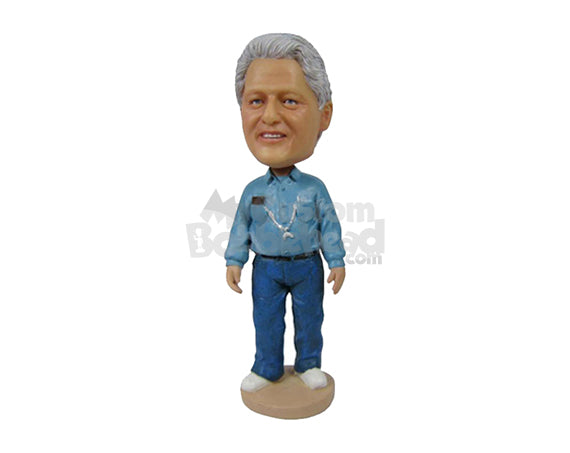 Custom Bobblehead Graceful Male Standing Upright With A Mobile In Shirt Pocket - Leisure & Casual Casual Males Personalized Bobblehead & Cake Topper