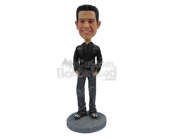Custom Bobblehead Handsome Guy In Stunning Casual Attire With A Big Smile - Leisure & Casual Casual Males Personalized Bobblehead & Cake Topper