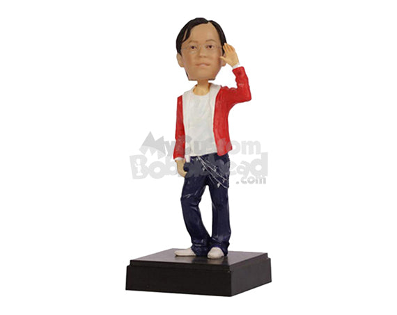 Custom Bobblehead Dude In Stylish Pair Of Jeans With A Swag - Leisure & Casual Casual Males Personalized Bobblehead & Cake Topper