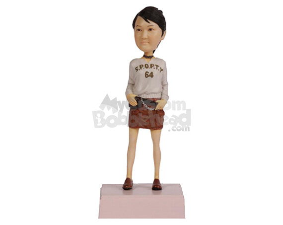 Custom Bobblehead Cute Girl Rocking With A Waist Bag - Leisure & Casual Casual Females Personalized Bobblehead & Cake Topper
