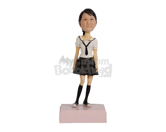 Custom Bobblehead Gorgeous Girl In Long Sock And Skirt Killing It With A Swag - Leisure & Casual Casual Females Personalized Bobblehead & Cake Topper
