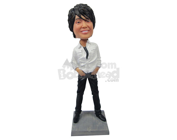 Custom Bobblehead Dashing Guy In Rockstar Pose With A Killer Hairstyle - Leisure & Casual Casual Males Personalized Bobblehead & Cake Topper