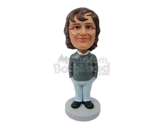 Custom Bobblehead Charming Lady In Semi-Casual Attire With Spectacles - Leisure & Casual Casual Females Personalized Bobblehead & Cake Topper