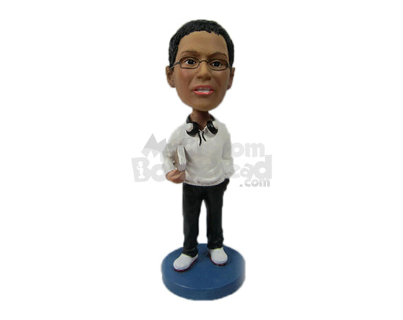 Custom Bobblehead College Pal Holding Books Under The Arm - Leisure & Casual Casual Males Personalized Bobblehead & Cake Topper