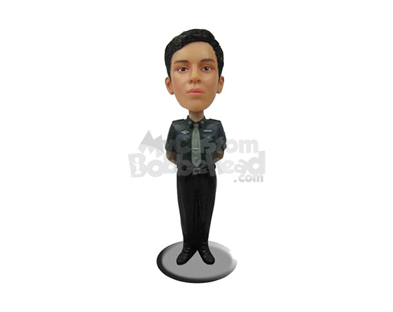 Custom Bobblehead Bold Lady In Police Attire With Hands Clenched Back - Leisure & Casual Casual Females Personalized Bobblehead & Cake Topper