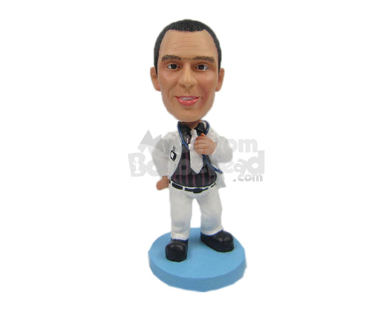 Custom Bobblehead Dapper Doctor Posing With A Stethoscope And Hands On Waist - Leisure & Casual Casual Males Personalized Bobblehead & Cake Topper