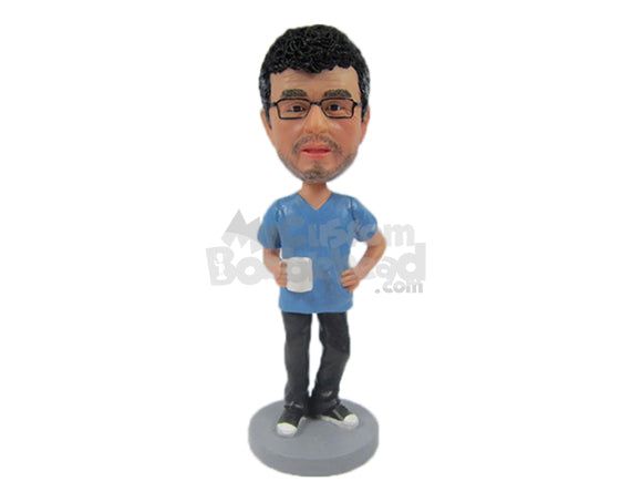 Custom Bobblehead Cool Dude With Stylish Beard Holding A Cup In One Hand - Leisure & Casual Casual Males Personalized Bobblehead & Cake Topper
