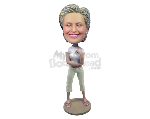 Custom Bobblehead Lovely Woman With A Dazzling Casual Attire - Leisure & Casual Casual Females Personalized Bobblehead & Cake Topper